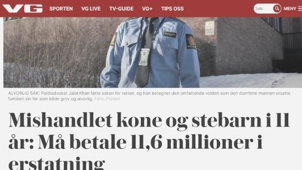 11,6 millioner i erstatning etter familievold